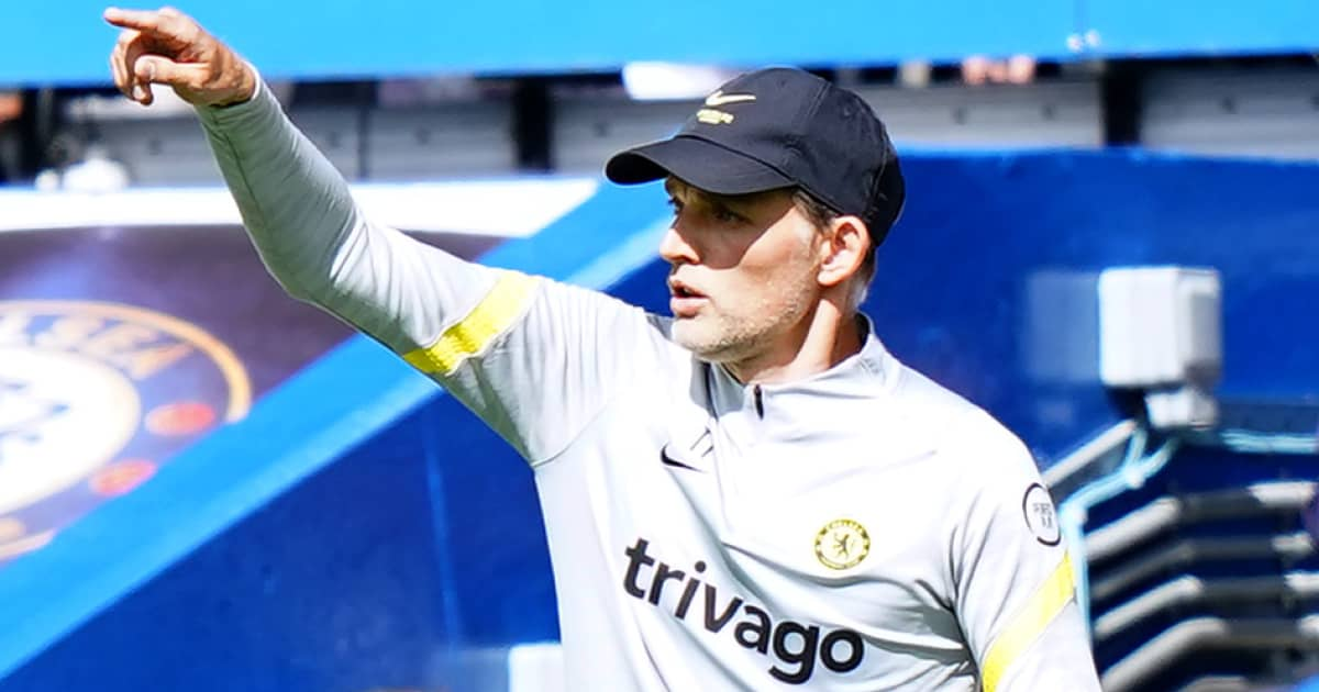 Chelsea boss Thomas Tuchel pointing from the touchline at Stamford Bridge