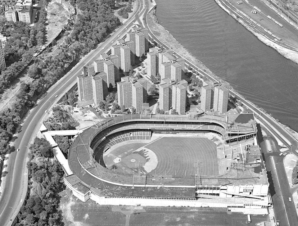 In this April 7, 1963 file photo,  an aerial view of New York's Polo Grounds home of the New York Mets is shown.