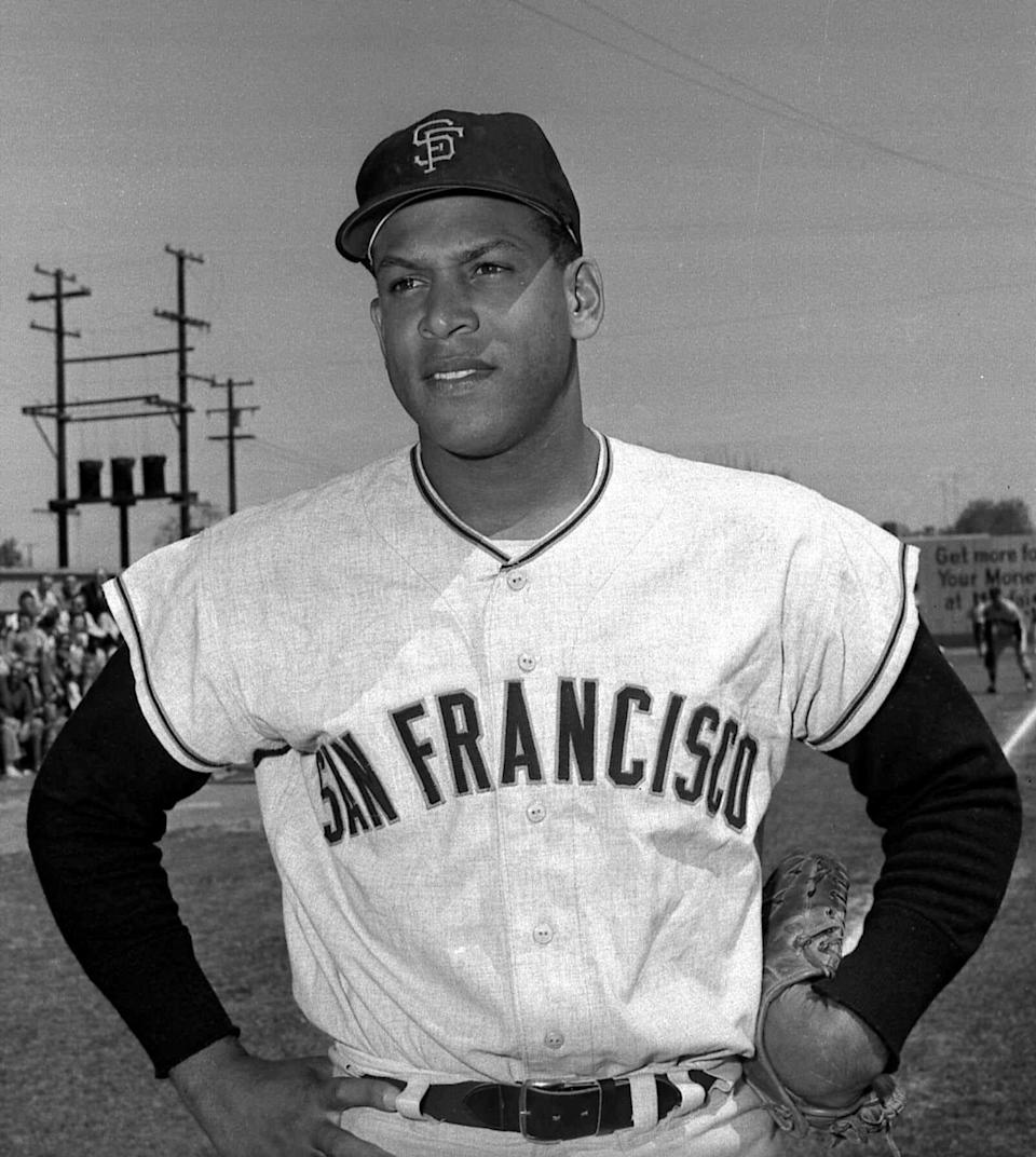 Orlando Cepeda, shown in this April 4, 1963 file photo, was inducted into the Baseball Hall of Fame in 1999.