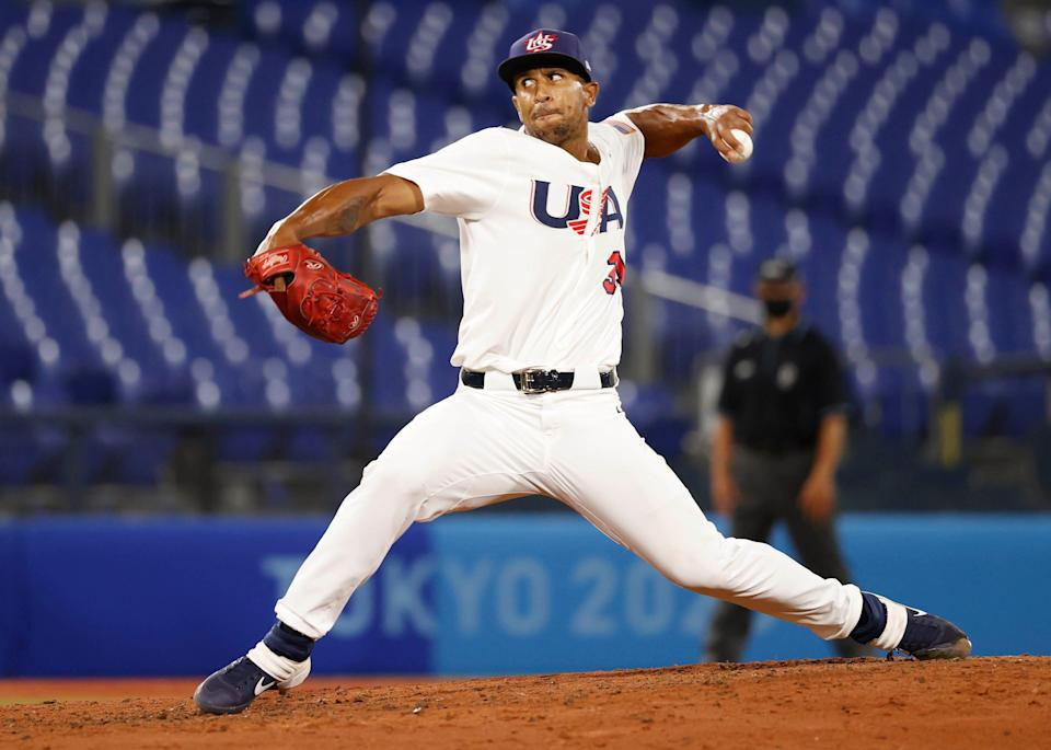 Team USA pitcher Anthony Gose (31) throws a pitch against Korea in group B play during the Tokyo 2020 Olympic Summer Games at Yokohama Baseball Stadium.