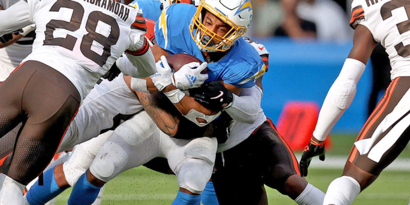 Chargers' Brandon Staley wants 'ruling' after Browns push Austin Ekeler into the end zone to get ball back