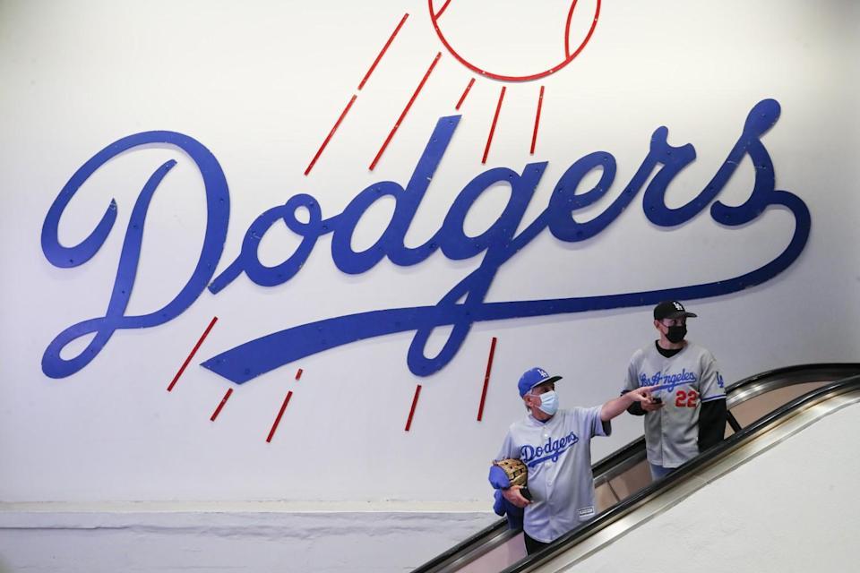Dodgers fans at Dodger Stadium.