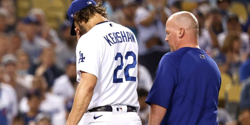 Clayton Kershaw exits final 2021 start with left forearm injury