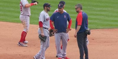 J.D. Martinez exits game with left ankle sprain