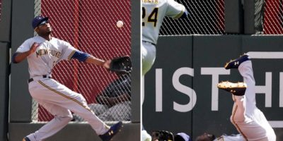 Lorenzo Cain slams into fence after near-catch