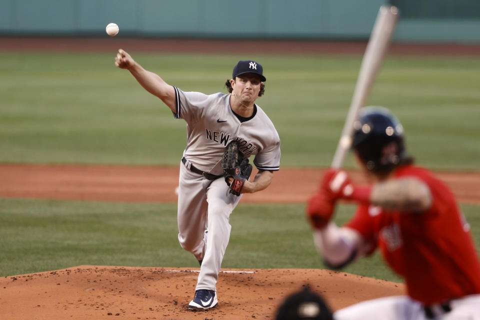 BOSTON, MA - JULY 23: Gerrit Cole #45 of the New York Yankees pitches against the Boston Red Sox during the first inning at Fenway Park on July 23, 2021 in Boston, Massachusetts. (Photo By Winslow Townson/Getty Images)